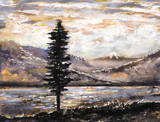 oil painting - mountain, lake, fog, tree. Illustration of wild nature. Modern artwork with mountain. - 125983781