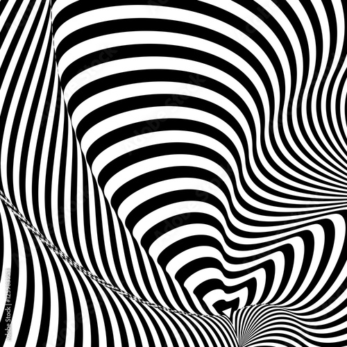 Pattern Of Black And White Lines Optical Illusion Vector Ilration As Background Picture Wallpaper