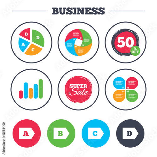 Business Pie Chart Growth Graph Energy Efficiency Class Icons