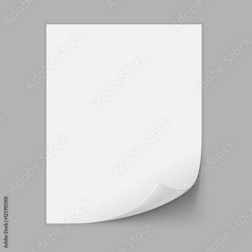 Fotografía  Paper Sheet With Curled Corner. Vector