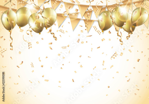 gold balloons confetti and streamers vector buy this stock vector