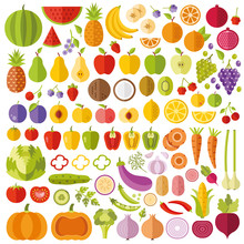 Fruits And Vegetables Flat Ico...