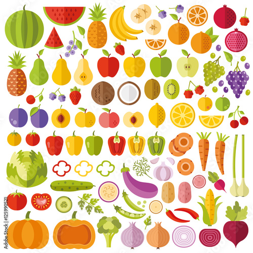 Poster Cuisine Fruits and vegetables flat icons set. Colorful flat design graphic elements collection. Vector icons, vector illustrations