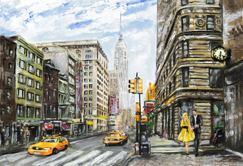 Panel Szklany Nowy York oil painting on canvas, street view of New York, man and woman, yellow taxi, modern Artwork, American city, illustration New York