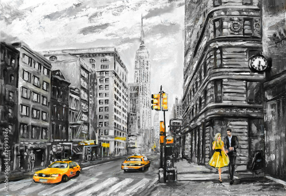 Fototapety, obrazy: oil painting on canvas, street view of New York, man and woman, yellow taxi,  modern Artwork, New York in gray and yellow colors, American city, illustration New York