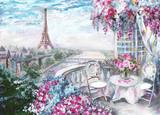 Obraz olejny, letnia kawiarnia w Paryżu. łagodny krajobraz miasta. Widok z góry - 125994181