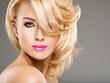 Leinwanddruck Bild - Portrait of  beautiful woman with blond hair.  bright fashion ma
