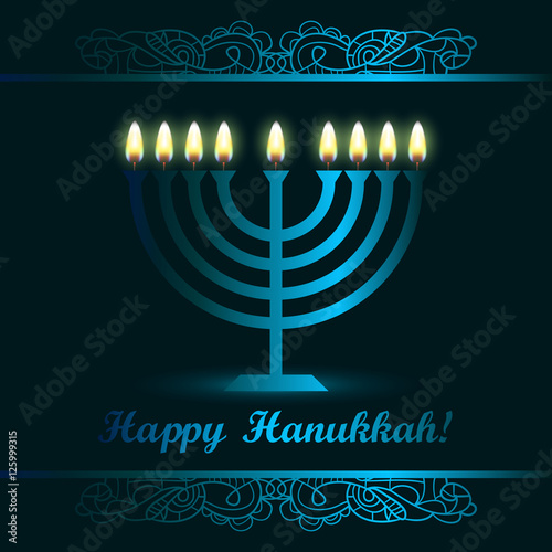 Hanukkah greeting card with candles and menorah traditional hanukkah greeting card with candles and menorah traditional candelabra happy hanukkah jewish m4hsunfo
