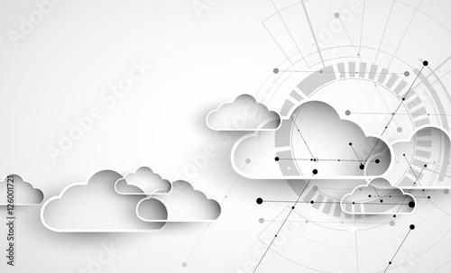 Obraz Modern cloud technology. Integrated digital web concept - fototapety do salonu