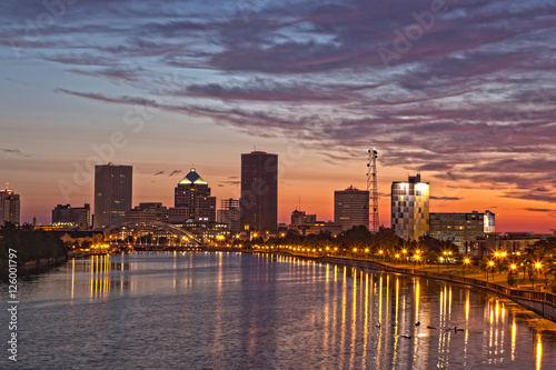 Rochester NY skyline at dawn