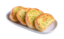 Garlic Bread In White Plate On White Background