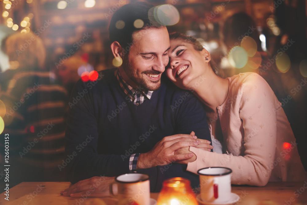 Fototapeta Romantic couple dating in pub