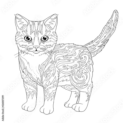 - Ethnic Decorative Doodle Cat. Coloring Book Page With Kitten For Adults.  Vector Illustration. - Buy This Stock Vector And Explore Similar Vectors At  Adobe Stock Adobe Stock