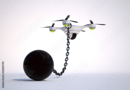 Fotografie, Obraz  No drone zone! Drone with a ball tethered on a long chain.