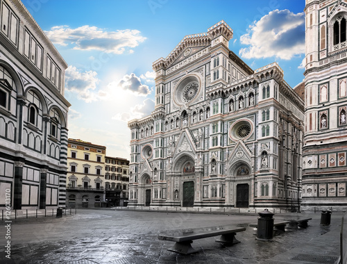 Aluminium Prints Florence Cathedral in the morning