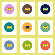 Collection of stylish vector icons in colorful circles retro bus