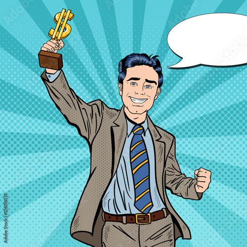 Printed kitchen splashbacks Fairytale World Pop Art Happy Businessman Holding Golden Winners Cup. Business Success. Vector illustration