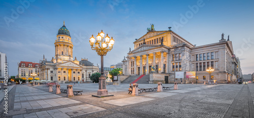Poster Berlin Berlin Gendarmenmarkt square panorama in twilight, Berlin Mitte, Germany