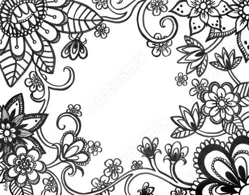 Adult Coloring Book Page Of Abstract Flower Doodles On