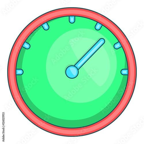 Green speedometer icon  Cartoon illustration of speedometer