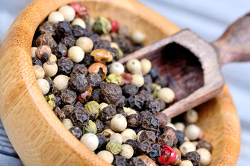 Colorful peppercorns in a bowl and scoop