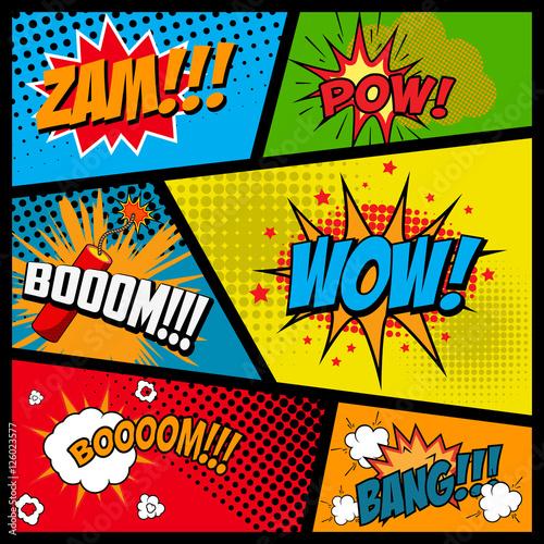 Printed kitchen splashbacks Comic style phrases in frames. Cartoon explosion. Zam. Pow. Bang. Boom. Wow. Vector illustration.