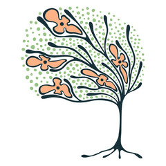 FototapetaVector hand drawn illustration, decorative ornamental stylized tree. Colorful graphic illustration isolated on the white background. Inc drawing silhouette. Decorative artistic ornamental wood