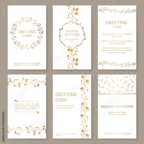 Fotografía  Vector set of six templates with gold ornament