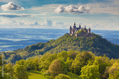 Poster Kasteel Hohenzollern Castle at sunset, Baden-Wurttemberg, Germany