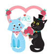 Two Cute Vector Cats. Card Design Elements With Cute Cats. Wedding Invitation Card. Cartoon Bride And Groom Vector Cats. Cute Romantic Background.