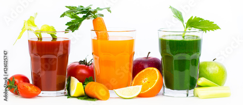 Poster Légumes frais Healthy fruit and vegetable juices and smoothies