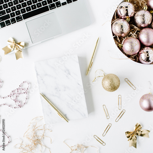 Feminine Workspace With Laptop Marble Diary Golden Pen Christmas