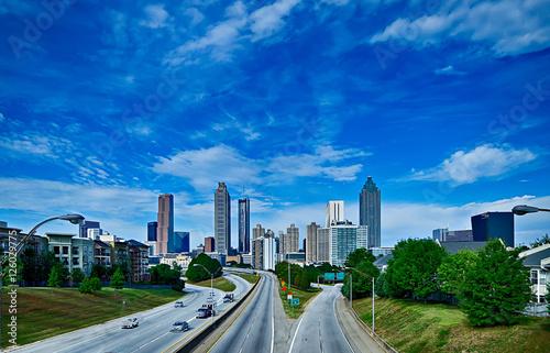 Plakat atlanta gruzja centrum miasta skyline widok