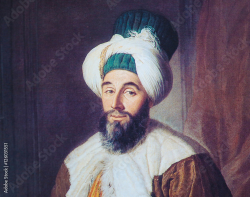 Stampa su Tela Portrait of Ottoman official - painting created in 1742