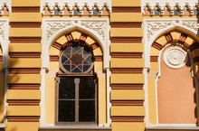 Windows With Ancient Patterns Of The Georgian National Opera And Ballet Theater, Built In 1851 In Tbilisi, Georgia