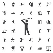 Golf Player Icon On The White Background