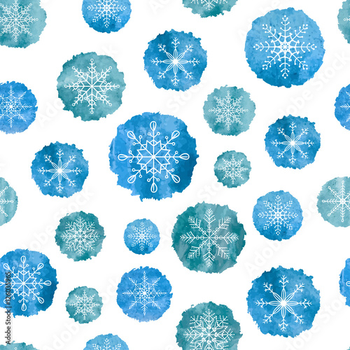Cotton fabric Snowflakes seamless pattern. White snowflakes on blue watercolor backgrounds. Vector illustration.