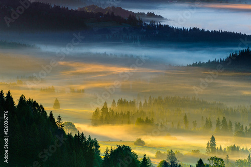 Obrazy Polska landscape-of-misty-morning-in-the-mountains-poland-koniakow