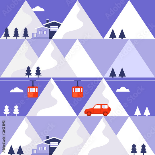 Cotton fabric Mountain winter vector seamless pattern.