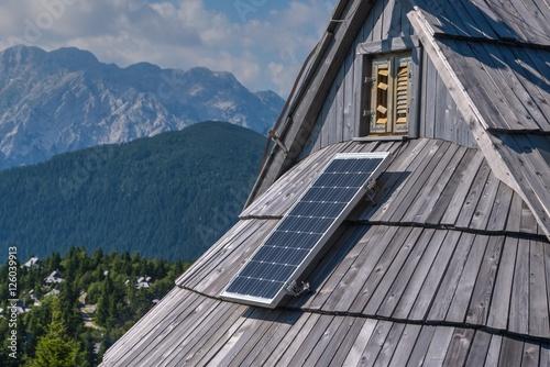 Deurstickers Poolcirkel Solar cell in the Alipne Meadow