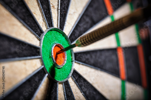 Foto-Vorhang - the darts in bull's eye, close up (von dziewul)