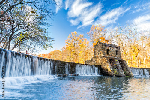 Tuinposter Dam Speedwell dam waterfall, on Whippany river, along Patriots path, in Morristown, New Jersey