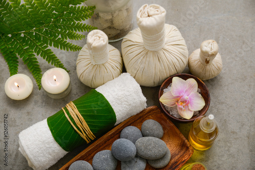 Foto op Canvas Spa Composition of bath spa treatment on gray background