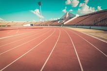 Red Running Track In Stadium , Vintage