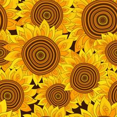 Fototapeta Słoneczniki Vivid floral seamless pattern