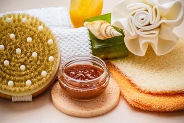 Obraz na płótnie Canvas Set for care of skin body, bath accessories