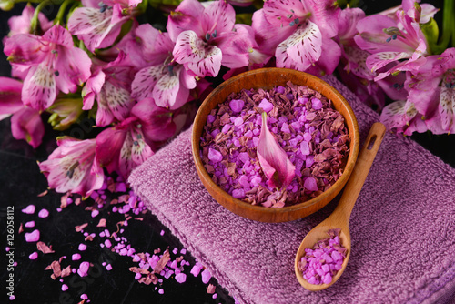 Poster Spa Spa feeling with towel ,salt in bowl ,candle , towel ,orchid