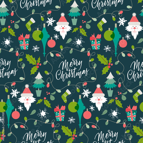 Cotton fabric Christmas Holiday Background. Pattern with winter symbols