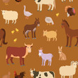Seamless pattern with cartoon farm animals.