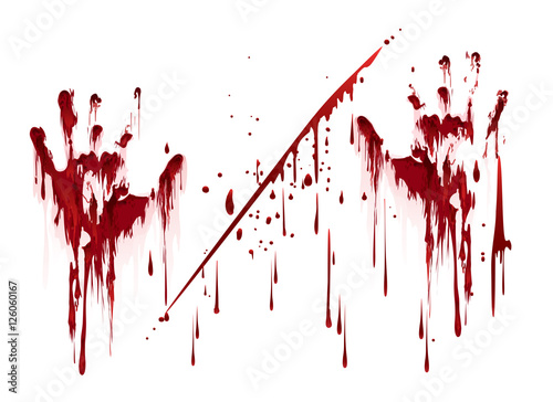 Fotografia Bloody hand prints with blood drops. Vector illustration